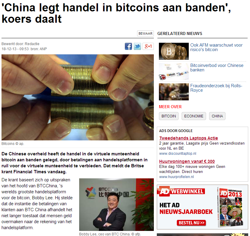 Bitcoins daalt